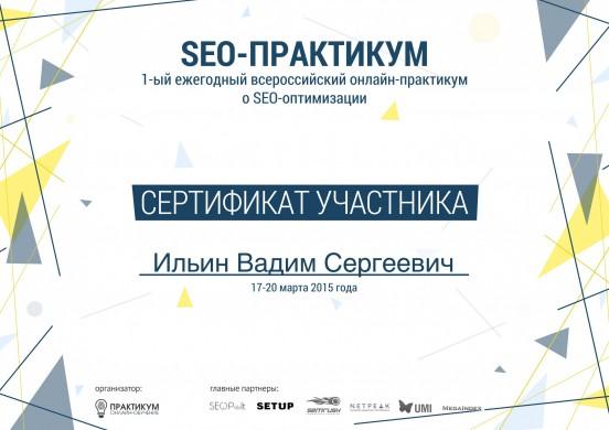 Сертификат участника SEO-практикума