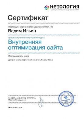 Сертификат Нетологии по внутренней оптимизации